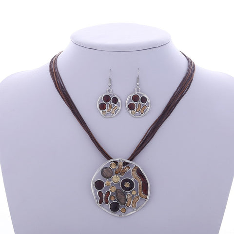 Leather Rope Chain Drop earrings Hollow Round Pendant necklace