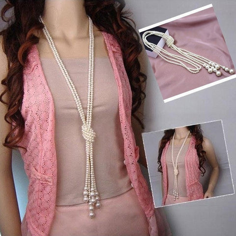 Long Knotted Pearl Necklace - Abco... Store