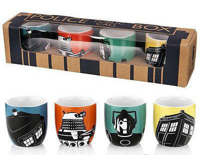 Doctor Who Egg Cups Set Of 4 In Gift Box