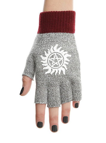 Supernatural Grey and Maroon Fingerless Gloves