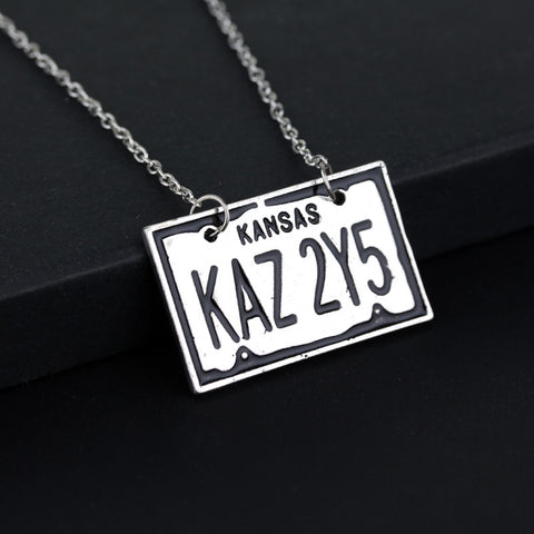 Supernatural License Plate Kansas KAZ2Y5 Logo Necklace