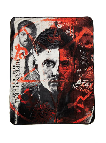 Supernatural Half-Face Fleece Throw Blanket