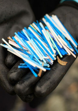 Cotton buds with plastic stems