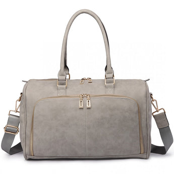 Faux Leather Changing Bag Set Light Grey