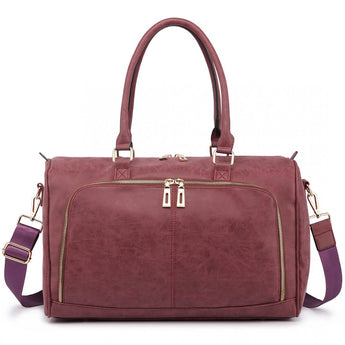Faux Leather Changing Bag Set Burgundy