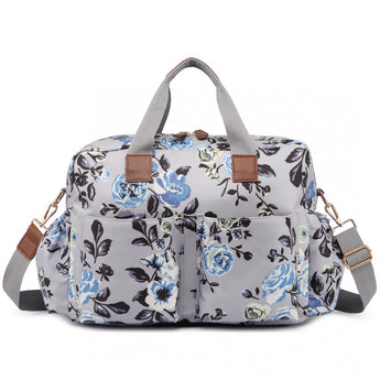Vintage Floral Changing Bag Set Grey