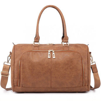 Faux Leather Changing Bag Set Brown