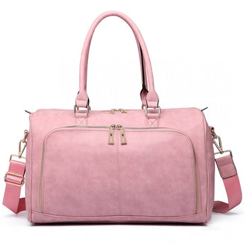 Faux Leather Changing Bag Set Pink