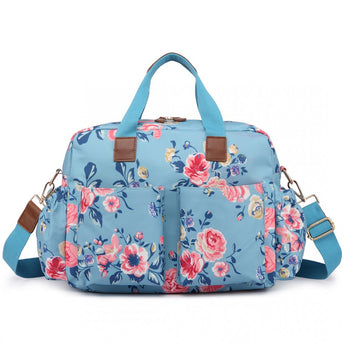 Vintage Floral Changing Bag Set Blue
