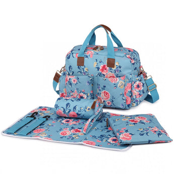 Vintage Floral Changing Bag Set Blue - Goodies 4 Mummies Pre Packed Maternity Bags