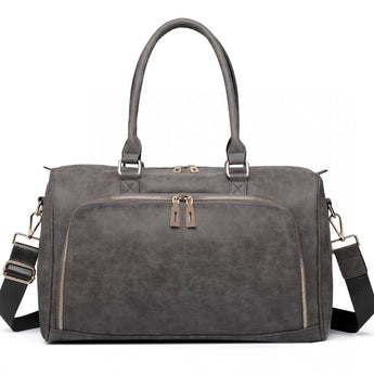 Faux Leather Changing Bag Set Grey