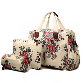 Floral Changing Bag Set Cream - Goodies 4 Mummies Pre Packed Maternity Bags