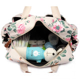 Vintage Floral Changing Bag Set Cream