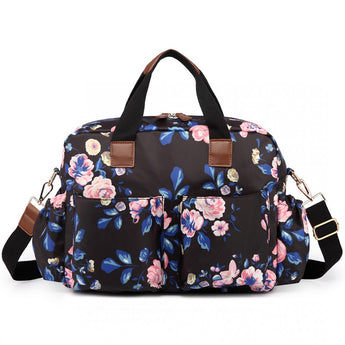 Vintage Floral Changing Bag Set Black