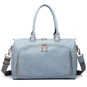 Faux Leather Changing Bag Set Light Blue