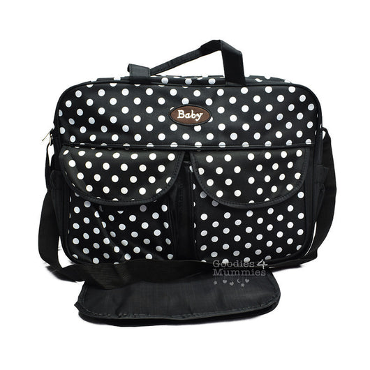 Black Polka Dot Changing Bag - Goodies 4 Mummies Pre Packed Maternity Bags