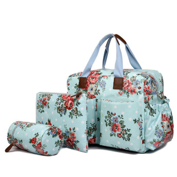 Floral Changing Bag Set Blue - Goodies 4 Mummies Pre Packed Maternity Bags
