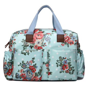 Light Blue Floral Changing Bag Set