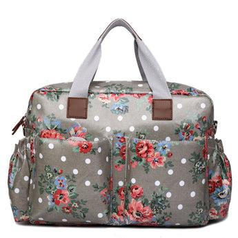 Grey Floral Changing Bag Set