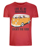 "EP01 Organic Eco Unisex red T-Shirt contains the quote ""Life is an adventure. Enjoy the Ride"" and features a classic VW camper van in orange"
