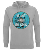 "EP60P Organic Combed Cotton, Unisex Melange Grey Hoodie with a quote set on a Viking shield ""Live Bravely - Do Right - Fear Nothing"""