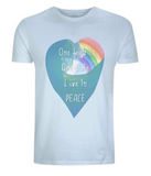 "EP01 Eco and Organic unisex light blue T-Shirt features a watercolour heart including an ocean wave and a rainbow, and the inspirational quote ""One world, One Life, Live in Peace"""