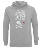 "EP60P Organic Combed Cotton Unisex Melange Grey Hoodie contains the humorous Pirate quote ""I am the Reason why all the Rum is Gone"" and includes Captain Jack Sparrow's Flag"