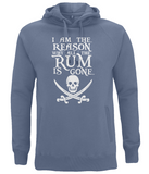 "EP60P Organic Combed Cotton Unisex Faded Denim Hoodie features the famous Calico Jack skull and crossed cutlasses along with the humorous Pirate quote ""I am the Reason why all the Rum is Gone"""