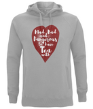 "EP60P Organic and Eco Unisex melange grey Hoodie contains the quote ""Mad, Bad and Dangerous to have Tea with"" on a red watercolour heart"