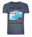 "EP01 Eco Organic Unisex denim blue T-Shirt with the quote ""Think Outside. No Box Required"" and features a classic VW camper van in turquoise."