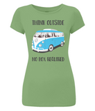 "EP04 Organic and Eco Women's Slim-Fit light green T-Shirt contains the thoughtful quote ""Think Outside, No Box Required"" and features a classic VW camper van in turquoise blue."