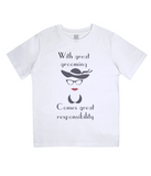 "EPJ01 ""With great grooming comes great responsibility"" Organic Eco Children's T-Shirt White"