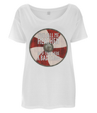 "EP46 Organic Women's Oversized white T-Shirt with quote set on a Viking shield ""You Call Me Heathen - As If That Were a Bad Thing"""