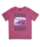 "EPJ01 Organic Combed Cotton Children's T-Shirt in Hot Pink, contains the quote  ""It's not about the destination. It's all about the Journey"""
