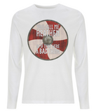 "EP01L Organic Combed Cotton Men's Long Sleeve white T-Shirt  featuring a red and cream Viking shield and the quote ""You Call Me Heathen as If That Were a Bad Thing"""