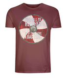 "EP01 Organic, Combed Cotton, Eco, dark red T-Shirt, contains an emotive quote set on a Viking shield ""You Call Me Heathen As If That Were a Bad Thing"""
