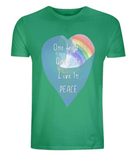 "EP01 Eco and Organic unisex green T-Shirt features a watercolour heart including an ocean wave and a rainbow, and the inspirational quote ""One world, One Life, Live in Peace"""