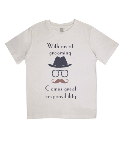 "EPJ01 ""With great grooming comes great responsibility"" :o) This soft Organic Eco Children's T-shirt Ecru"