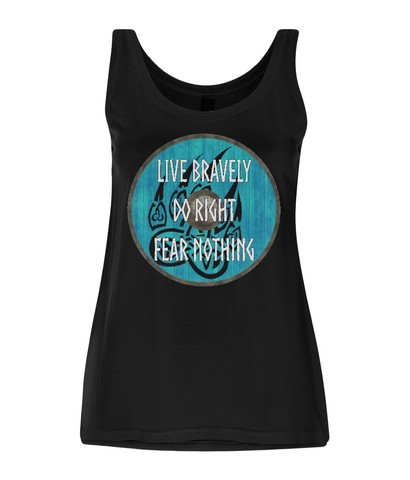 "EP44 Organic Eco Women's Tencel Blend Viking Vest in Black contains an emotive and inspirational quote set on a Viking shield  ""Live Bravely - Do Right - Fear Nothing"""