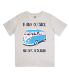 "EPJ01 Organic Combed Cotton Children's T-Shirt in Ecru, contains the quote  ""Think Outside, No Box Required"""