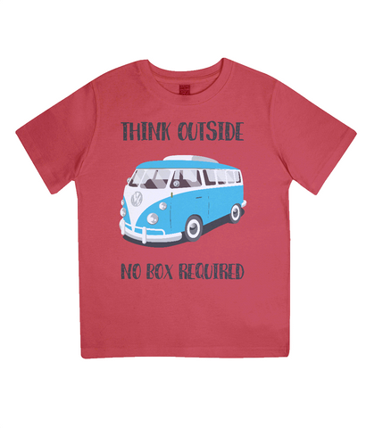 "EPJ01 Organic Combed Cotton Children's T-Shirt in Red, contains the quote  ""Think Outside, No Box Required"""
