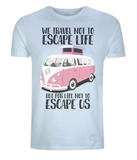 "EP01 Eco and Organic light blue T-Shirt with the quote ""We travel not to escape life, but for life not to escape us"" and a classic VW camper van in pink"