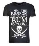 "EP01 Organic Combed Cotton Unisex black T-Shirt with the famous Calico Jack skull and crossed cutlas and the humorous Pirate quote ""I am the Reason why all the Rum is Gone"""