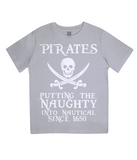 "EPJ01 Organic Combed Cotton Children's T-Shirt in Melange Grey contains the quote  ""Pirates - putting the naughty into nautical since 1650"""