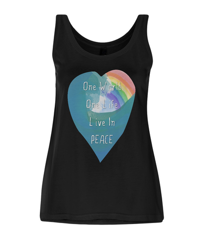 "EP44 Eco and Organic Women's Tencel Blend Black Vest features a watercolour heart with an ocean wave and a rainbow, and the inspirational quote ""One world, One Life, Live in Peace""."