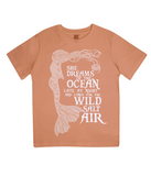 "EPJ01 Organic Combed Cotton Children's T-Shirt in Orange, contains the quote  ""She Dreams of the Ocean late at night and Longs for the Wild Salt Air"" and has an image of a mermaid"