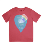 "EPJ01 Organic Combed Cotton Children's T-Shirt in Red, contains the quote  ""One World, One life, Live in Peace"""
