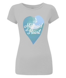 "EP04 Eco and Organic Women's Slim-Fit light grey T-Shirt features a watercolour ocean wave and the quote ""Mermaid at Heart"" enclosed together in a heart"