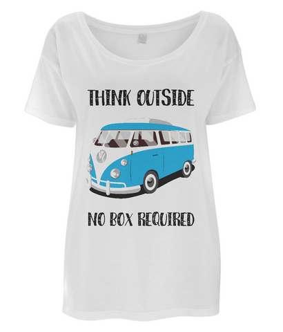 "EP46 Eco Organic Women's Oversized white T-Shirt contains the quote ""Think Outside. No Box Required"" and features a classic VW camper van in turquoise."