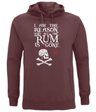 "EP60P Organic Combed Cotton Unisex Claret Red Hoodie contains the humorous Pirate quote ""I am the Reason why all the Rum is Gone"" and includes Captain Jack Sparrow's Flag"